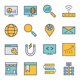 Icon set of search engine optimization