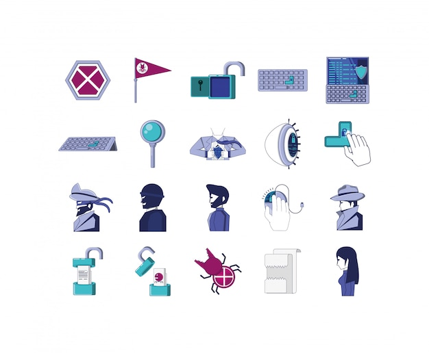 Icon set of security system illustration