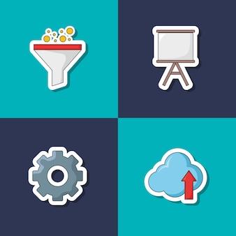 Icon set of seo concept