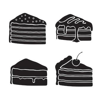 크림 유약 퐁당 confiture와 체리와 케이크의 아이콘 세트 실루엣