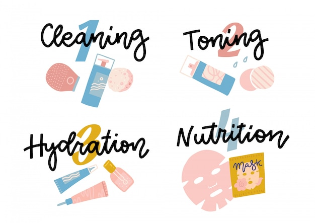 Icon set for skincare infographic.