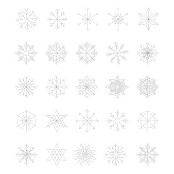 Icon set of snowflake, isolated on a white background. trendy outline symbols. pack of icons in line style. merry christmas. happy new year. winter. broken line. vector illustration.
