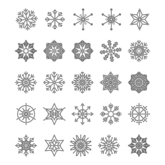 Icon set of snowflake, isolated on a white background. trendy outline symbols. pack of icons in line style. merry christmas. happy new year. winter. vector illustration.