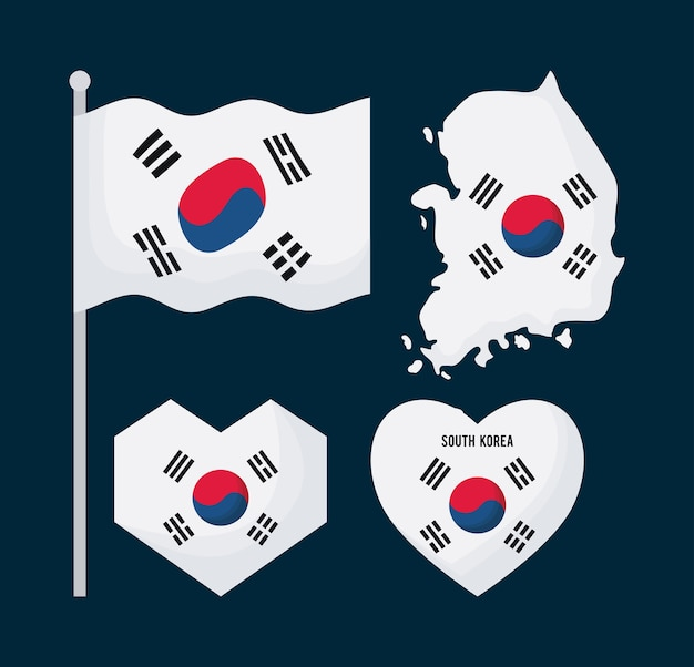 Icon set of south korean flag in different shapes