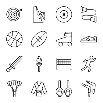 Icon set of sports and games