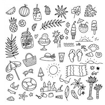 Icon set summer beach holidays, travel, vacation with sand castle, shoes, ice cream, shells, ball, drink, towel, sunglasses, parasol. hand drawn black and white doodle  illustration.
