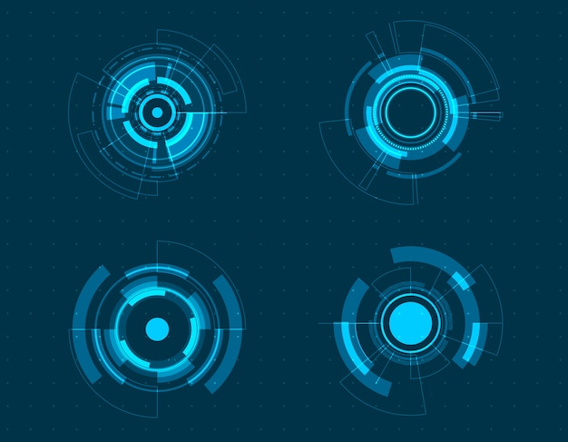 Icon set technology circle design.