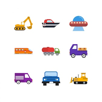 Icon set of transport for personal and commercial use