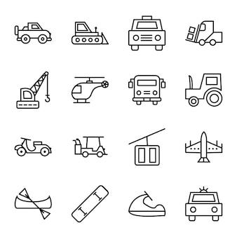 Icon set of transport