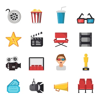 Icon set of tv show and cinema symbols.