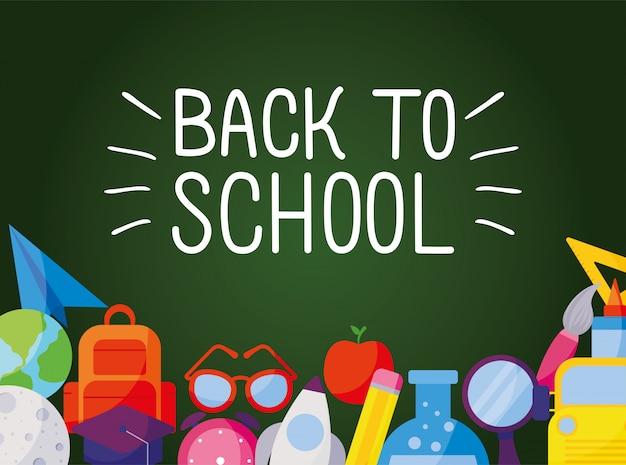 Набор иконок под дизайном зеленой доски, тема урока обратно в школу
