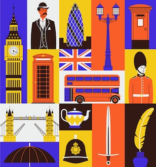 Icon set of united kingdom. big ben, gentleman, telephone cabin, flag, red bus, guard, london bridge, tea, sword, ink.