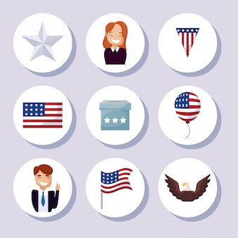 Icon set of usa happy presidents day illustration