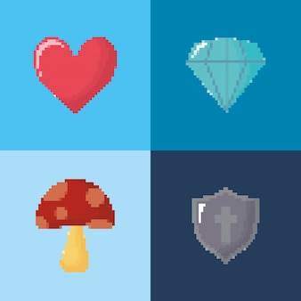 Icon set of video game concept