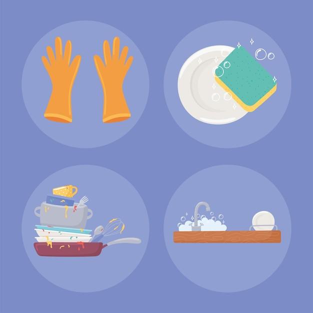 Icon set of washing dishes