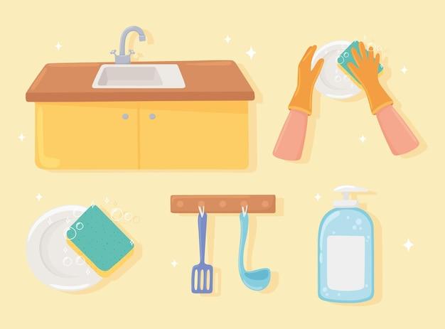 Icon set of washing kitchen