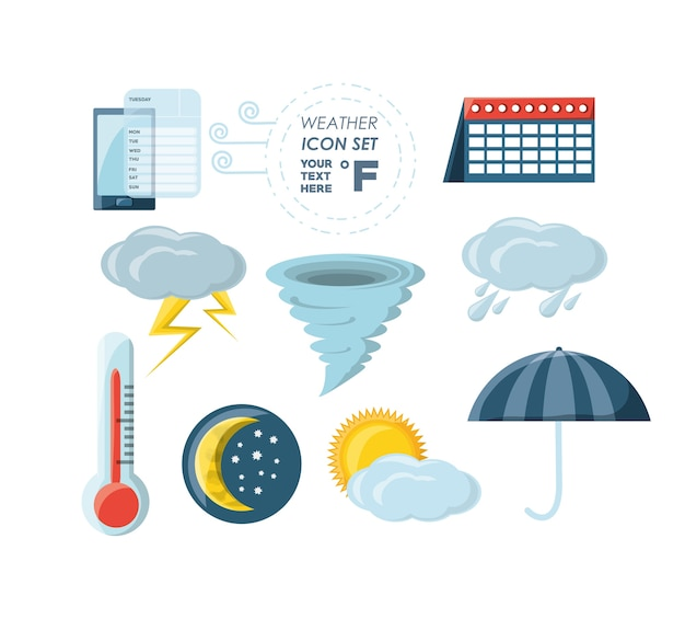 Icon set of weather and climate theme