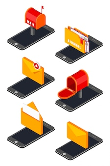 Icon set with isometric mobile phone and mail icons
