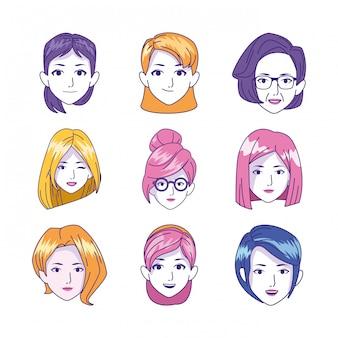 Icon set of women faces