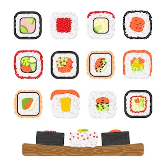Icon set of yummy colored sushi rolls