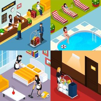 Гостиничный сервис изометрические icon set