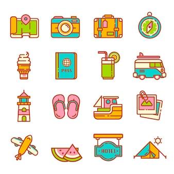 Отпуск icon set красочный вектор