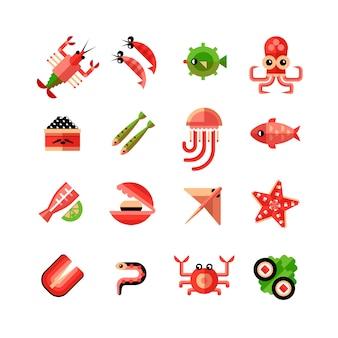 Морепродукты изолированные icon set