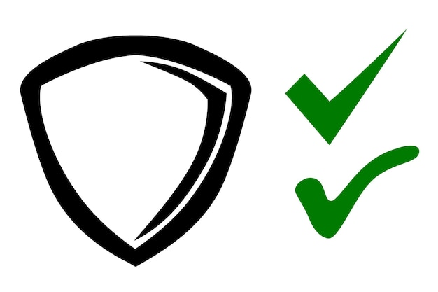 Icon shield or protection true and false symbol, simple vector doodle hand draw sketch