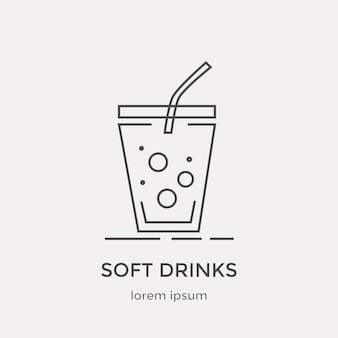 Icon of soft drink. modern thin line icons set.  flat design web graphics elements.
