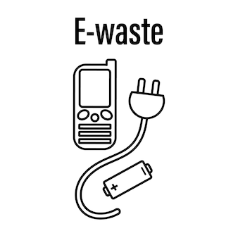Icon for sorting electronic waste in a linear stylevector illustration isolated on white background