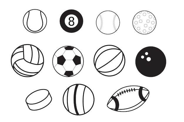Icon of sport items for team games with ice hockey pucks and balls for soccer or football