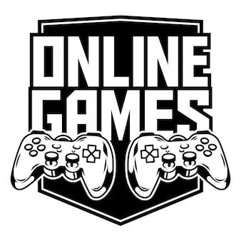 Иконка спортивный логотип геймпадов для игры в аркадные онлайн-игры для геймера и управления игрой. Premium векторы