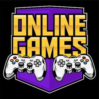 게이머를위한 아케이드 비디오 온라인 게임을 플레이하고 게임을 제어하기위한 게임 패드의 아이콘 스포츠 로고.