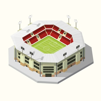 Icon stadium buildings football or soccer isometric. vector illustration