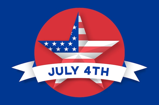 Icon of star with american flag usa on red circle background. set of symbols and design elements for independence day in united states of america