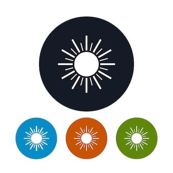 光線とアイコン太陽、4種類のカラフルな丸いアイコン太陽、ベクトル図