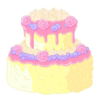 Иконка двухуровневый вкусный свадебный торт в мультяшном стиле. лимон-ванильный крем, конфеты и черника в дизайне.