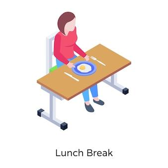 학교에서 점심 시간의 아이콘 벡터