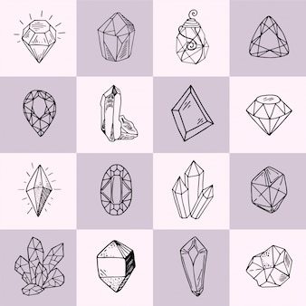 Icon vector outline collection - crystals or gems set with jewelry gemstones