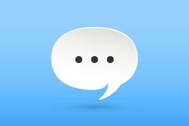 Icon of white paper cloud talk chat