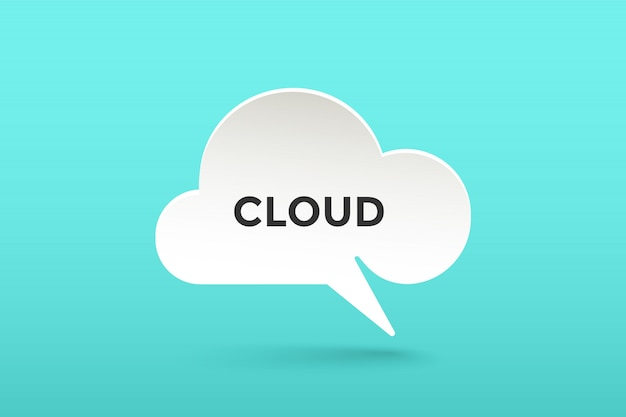 Icon of white paper cloud talk