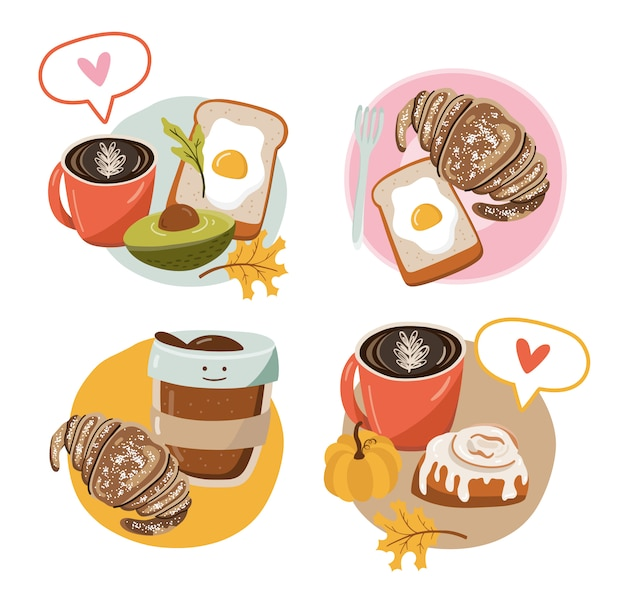 Icon with food. breakfast ideas.
