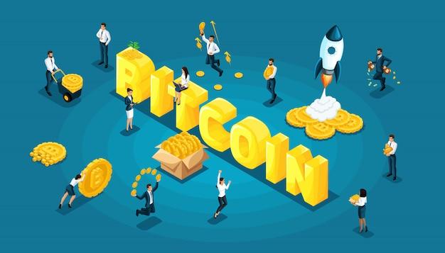 Значок с концепцией ico blockchain, майнинг криптовалюты, иллюстрация запуска проекта