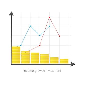 Значок с инвестициями для дизайна баннера. диаграмма, график роста. con для дизайна баннера.
