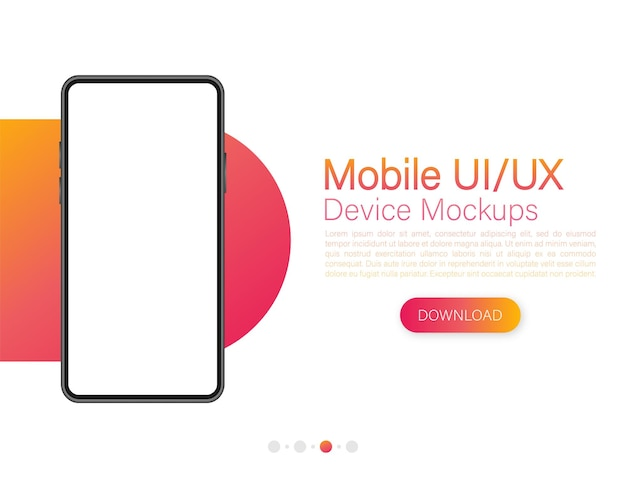 Icon with mobile ui and ux design on red background for web design
