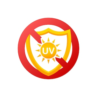 Icon with no uv on light background for healthcare design. uv skin protection. vector icon.