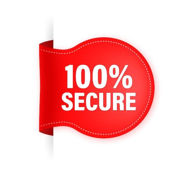 Значок с красной лентой 100 secure