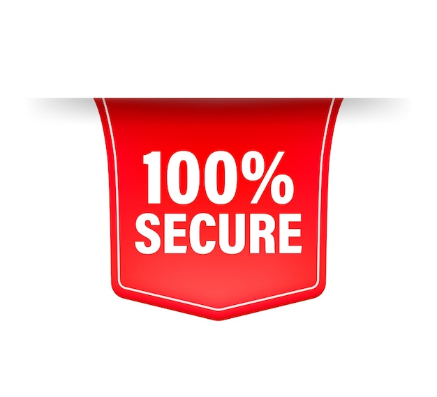 Icon with red 100 secure ribbon