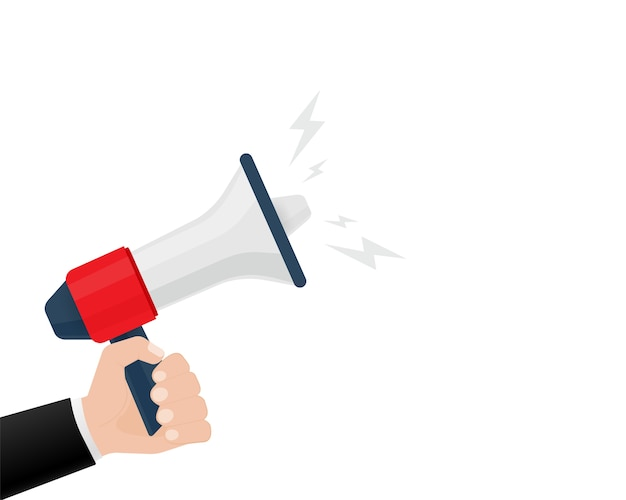 Icon with red megaphone with hand for  .  illustration template.  . business concept.