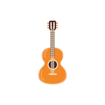Icon of wooden classic string musical instrument  acoustic guitar